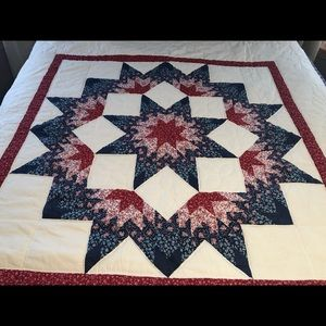 """Hand Made Amish Star Quilt Pink Blue 65X84"""" Full"""